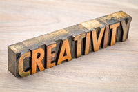 creativity word abstract in wood type