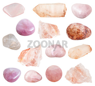 various Rose Quartz gemstones isolated