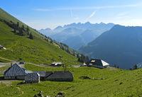 Mountain pasture dairy on the pass Col de Jaman, Vaud, Switzerland