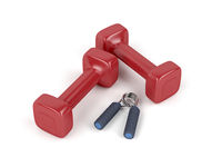 Dumbbells and hand gripper