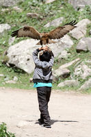 Boy with tamed bird of prey, Grigorievka gorge, Kungei Alatoo Mountains, Kyrgyzstan
