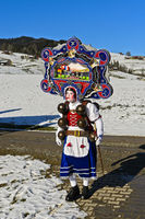 A Beautiful Chlaus with ornate embroidered headgear, Urnäsch, Switzerland