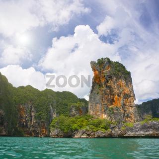 Cliff and emerald  sea in Krabi province