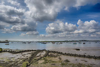Yachts moored up on a Suffolk estuary in Summer