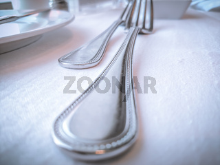 table silver wear on dinner table