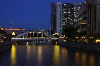 Elgin-bridge mit Finanzzentrum Singapur