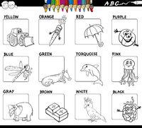main colors educational worksheet for coloring