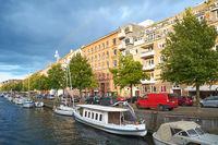 The view on the Overgaden Oven Vandet street from the bridge in Copenhagen.