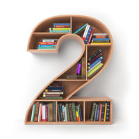 Number 2 two. Alphabet in the form of shelves with books isolated on white.