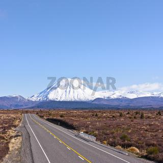 Deser Road and Mount Ngauruhoe, New Zealand