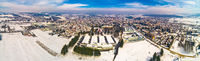 Aerial snowy winter view of Krizevci