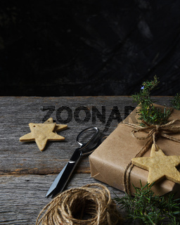 Christmas Present Star Cookies Twine and Greenery