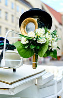 Element of a horse-drawn wedding carriage (Fiacre) in the old city of Vienna, Austria