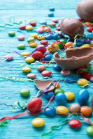 Colored candies and chocolate eggs