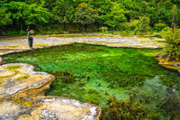 Tourist at the Baishuitai Water Terraces in China