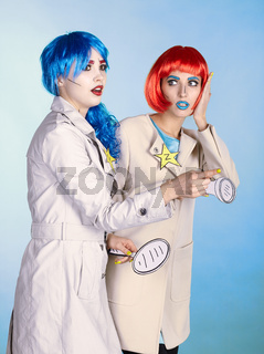 Female detectives investigate a crime. Young women in comic pop art make-up style.