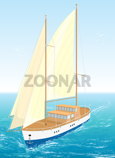 Sea ship. Vector Illustration. EPS8.
