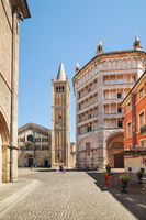 Cathedral and Battistero in Parma, Italy.