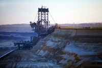 brown coal surface mining with bucket wheel excavator , Garzweiler, Juechen, Germany, Europe