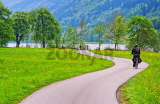 Bicycle track on Danube river in Austria