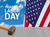 Happy Labor Day background with hammer