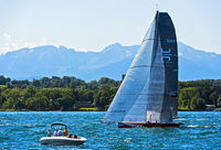 Sailing boat SUI 5 Team Til sailing on Lake Geneva, Geneva, Switzerland