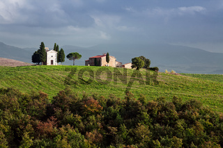 The chapel Vitaleta in Val d'Orcia, Tuscany