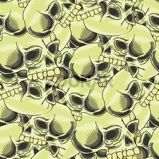 Old Retro Human Skull Seamless Pattern