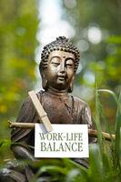 Buddha statue with the words Work-Life Balance
