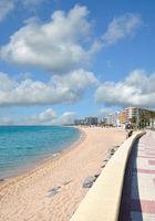 Beach and Promenade of Blanes at Costa Brava,Catalonia,Spain
