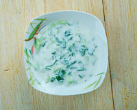 Cold yoghurt and herb soup