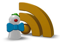 clownfigur und rss-symbol - 3d illustration
