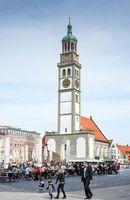 Tourists at the Rathausplatz square in Augsburg