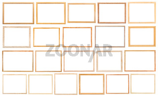 simple narrow wooden picture frames isolated