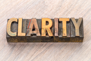 clarity word abstract in wood type