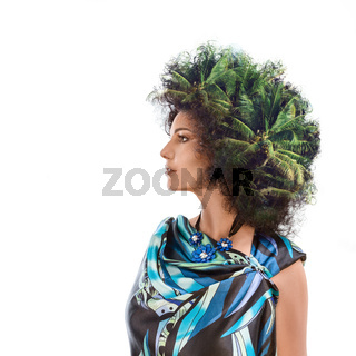 Woman head combined with palm trees