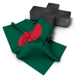 christliches kreuz und flagge von bangladesch - 3d rendering