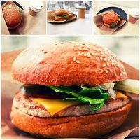 Collage of hamburger and coffee in pub