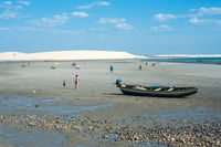 Tourists rest on the the beach of Jericoacoara, the most famous in the state of Ceara, Brazil