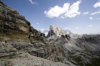 Bergmassiv im Dreinzinnengebiet, Sextener Dolomiten, Italien, massif, sextener dolomite, Italy, wanderer, wayfarres