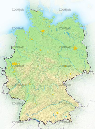 Deutschland, Reliefkarte.