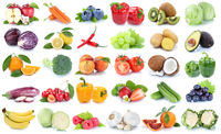 Obst und Gemüse Früchte Apfel Orange Tomaten Banane Salat Weintrauben frische Collage Freisteller freigestellt isoliert