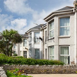 Row of beautiful terraced english houses.Cornwall England