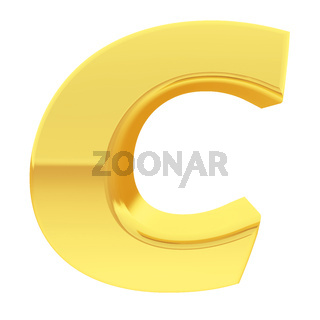 Gold alphabet symbol letter C with gradient reflections isolated on white. High resolution 3D image