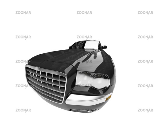 Isolated black car front view 01