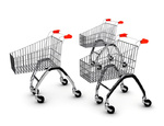 Shoping carts over white