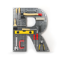 Letter R. Alphabet from the tools on the metal pegboard isolated on white.