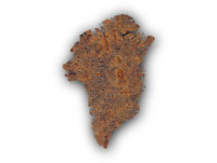 Karte von Grönland auf rostigem Metall - Map of Greenland on rusty metal