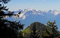 View from the pass Col de Jaman across Les Avants on the Alps, Vaud, Switzerland