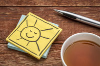 cheerful smiling sun note